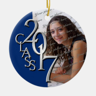 Class 2017 Graduation Photo Blue and Silver Round Ceramic Decoration