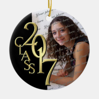 Class 2017 Graduation Photo Gold and Black Christmas Ornament