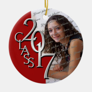Class 2017 Graduation Photo Red and Silver Round Ceramic Decoration