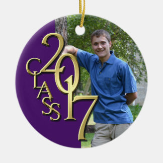 Class 2017 Purple and Gold Graduate Photo Round Ceramic Decoration