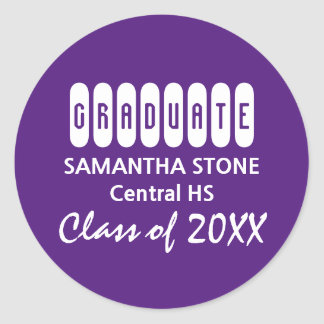 Class 2017 Purple White Graduation Envelope Seal