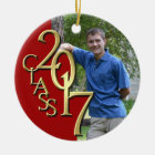 Class 2017 Red and Gold Graduate Photo Christmas Ornament