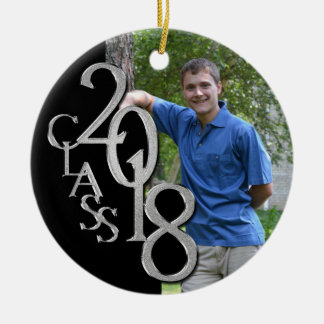 Class 2018 Black and Silver Graduate Photo Christmas Ornament
