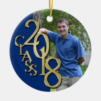 Class 2018 Blue and Gold Graduate Photo Christmas Ornament