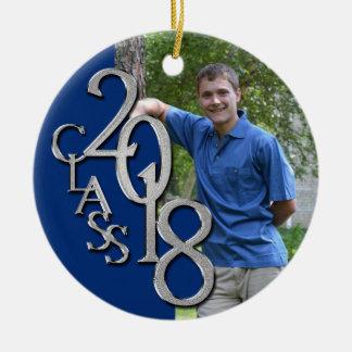 Class 2018 Blue and Silver Graduate Photo Christmas Ornament
