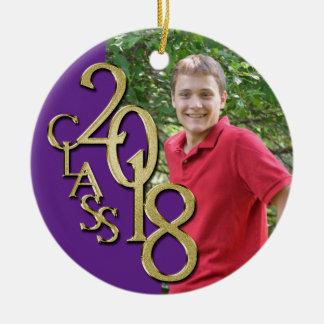 Class 2018 Purple and Gold Graduate Photo Christmas Ornament
