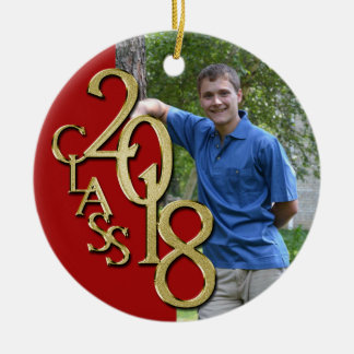 Class 2018 Red and Gold Graduate Photo Christmas Ornament