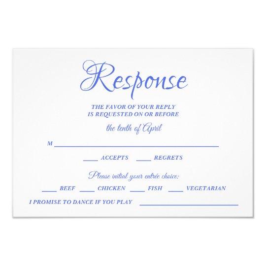 Class Calligraphy Blue Wedding RSVP Monogram Card