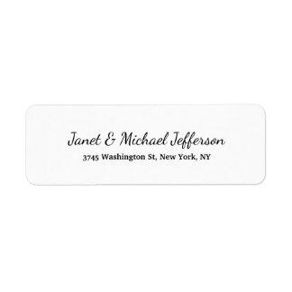 Class Creative Plain Black & White Stylish Family Return Address Label