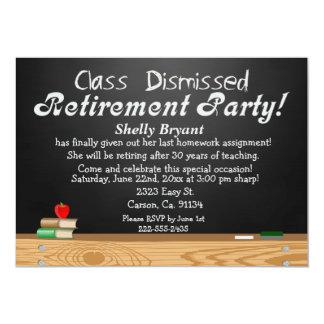 Class Dismissed Chalkboard Teacher Retirement 13 Cm X 18 Cm Invitation Card