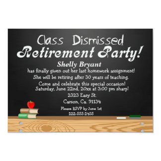 Class Dismissed Chalkboard Teacher Retirement Card