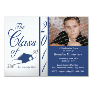 Class Graduation 2011/ Blue 13 Cm X 18 Cm Invitation Card