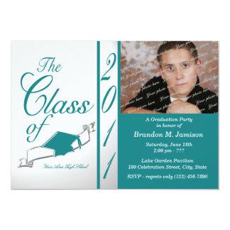 Class Graduation 2011/ Teal 13 Cm X 18 Cm Invitation Card