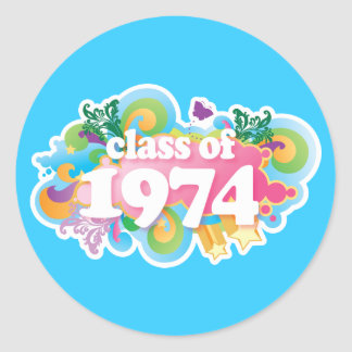Class of 1974 round stickers