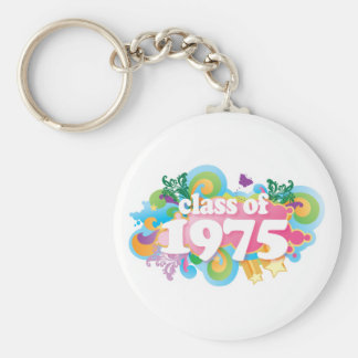 Class of 1975 basic round button key ring