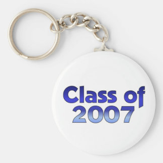 Class of 2007 Blue & White Basic Round Button Key Ring
