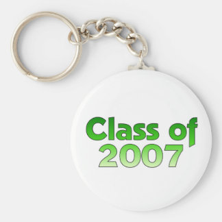Class of 2007 Green & White Basic Round Button Key Ring