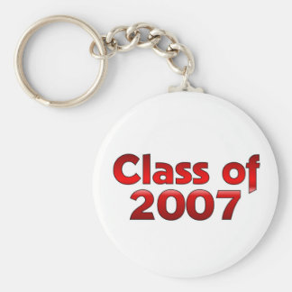 Class of 2007 Red & White Basic Round Button Key Ring