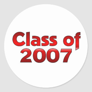Class of 2007 Red & White Round Sticker