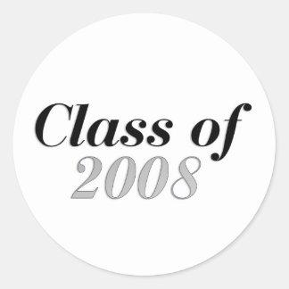 Class of 2008 Grey Round Sticker