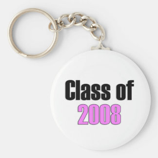 Class of 2008 Pink Basic Round Button Key Ring