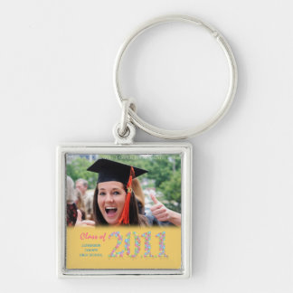 Class of 2011 Balloons Graduation Photo Keyring Silver-Colored Square Key Ring
