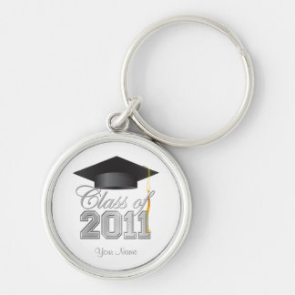 Class of 2011 Graduation Key-Chain -White & silver Key Ring