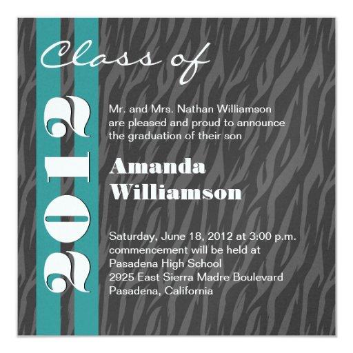 Class of 2012 Aqua Grey Zebra Change to Any Year 13 Cm X 13 Cm Square Invitation Card