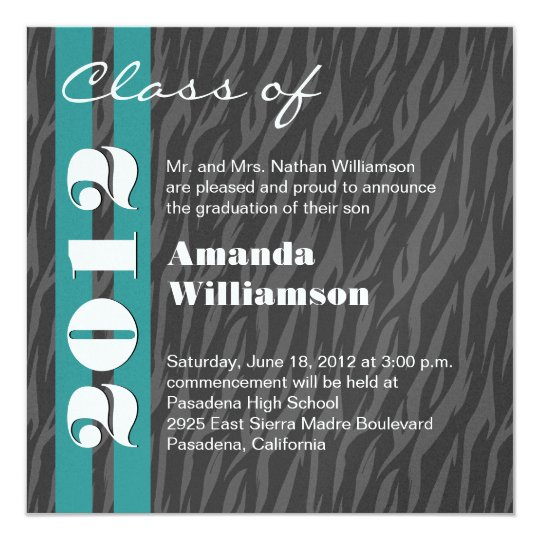 Class of 2012 Aqua Grey Zebra Change to Any Year 13 Cm X 13 Cm Square Invitation Card