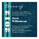 Class of 2012 Blue and Aqua Change to Any Year 13 Cm X 13 Cm Square Invitation Card