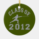 Class Of 2012 Fencing - Grey 2 Round Ceramic Decoration
