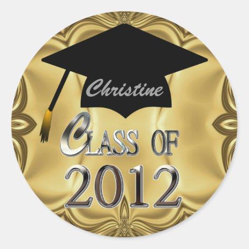 Class Of 2012 Gold Graduation Stickers