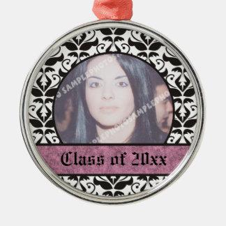 Class of 2012 Grad Graduation damask photo Silver-Colored Round Decoration