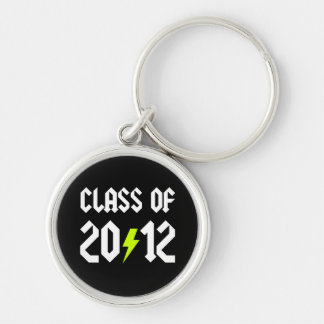 Class Of 2012 Graduation Yellow Bolt Silver-Colored Round Key Ring