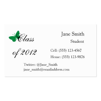 Class of 2012 - Green and White Butterfly Pack Of Standard Business Cards