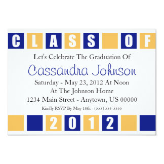 Class Of 2012 Invitation (Blue / Gold Boxes)