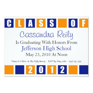 Class Of 2012 Invitation (Blue / Orange Boxes)