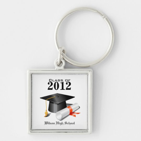 Class of 2012 Key-chain Silver-Colored Square Key Ring