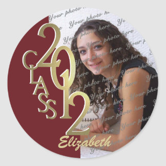 Class of 2012 Maroon and Gold personalized photo Classic Round Sticker