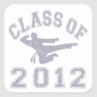 Class Of 2012 Martial Art - Grey 2 Square Stickers