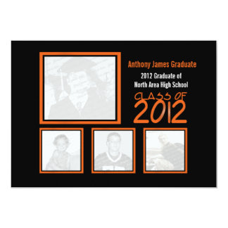 Class of 2012 Neon Orange Graduate Quad Photo Card