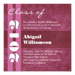 Class of 2012 Pink and Wine Change to Any Year Personalised Invites