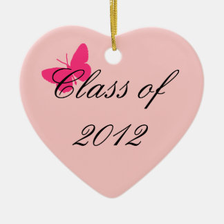 Class of 2012 - Pink Butterfly Ceramic Heart Decoration