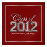 Class of 2012 Premium Red / Silver Graduation Custom Invitation