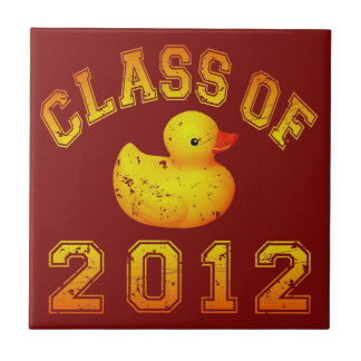 Class Of 2012 Rubber Duckie - Yellow/Orange Small Square Tile