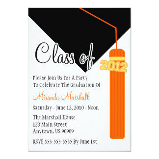 Class Of 2012 Tassel Graduation Invite (Orange)