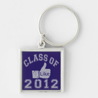 Class of 2012 Thumbs Up - Grey Silver-Colored Square Key Ring