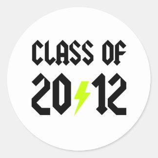 Class Of 2012 Yellow Bolt Round Sticker
