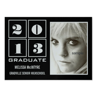 Class of 2013 Black and Silver Metallic 11 Cm X 16 Cm Invitation Card
