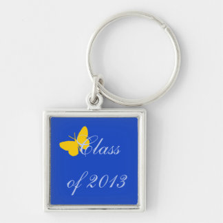 Class of 2013 - Blue and Gold Butterfly Silver-Colored Square Key Ring